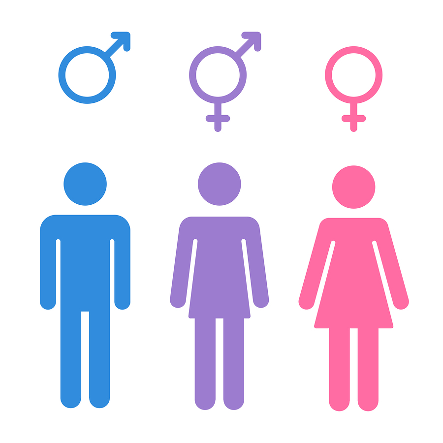 Set of gender symbols with stylized silhouettes: male female and unisex or transgender. Isolated vector illustration.